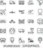 thin line icon set   plane... | Shutterstock .eps vector #1342694621