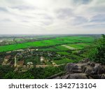 lush rice fields that look from ... | Shutterstock . vector #1342713104
