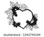 heart with rose vine vector by... | Shutterstock .eps vector #1342745144
