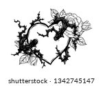 heart with rose vine vector by... | Shutterstock .eps vector #1342745147
