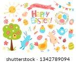 happy easter vector set. cute... | Shutterstock .eps vector #1342789094