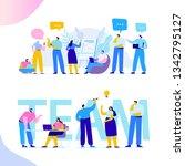 brainstorming creative team... | Shutterstock .eps vector #1342795127