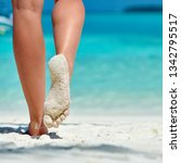 woman walking on tropical white ... | Shutterstock . vector #1342795517