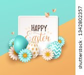 easter background with spring... | Shutterstock .eps vector #1342802357