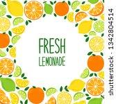 cute citrus fruits lemon  lime... | Shutterstock .eps vector #1342804514