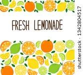 cute citrus fruits lemon  lime... | Shutterstock .eps vector #1342804517