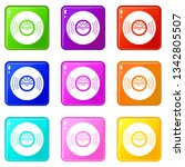 vinyl record icons set 9 color...   Shutterstock .eps vector #1342805507