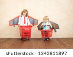 kids with jet pack racing on... | Shutterstock . vector #1342811897