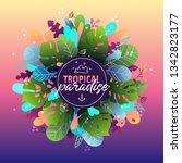 tropical paradise poster.... | Shutterstock .eps vector #1342823177