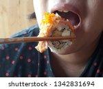asian chubby woman eating sushi ... | Shutterstock . vector #1342831694