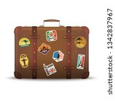 suitcase stickers. old retro... | Shutterstock .eps vector #1342837967