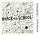 back to school. notebook doodle ... | Shutterstock .eps vector #1342845641