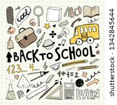 back to school. notebook doodle ... | Shutterstock .eps vector #1342845644