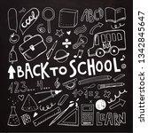 back to school. chalkboard... | Shutterstock .eps vector #1342845647
