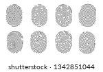 fingerprint isolated icons...   Shutterstock .eps vector #1342851044