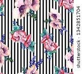 purple bouquet floral botanical ... | Shutterstock . vector #1342851704