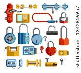 padlocks and locks and door... | Shutterstock .eps vector #1342856957
