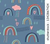 baby seamless vector pattern.... | Shutterstock .eps vector #1342867424