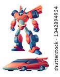 red battle robot capable to... | Shutterstock .eps vector #1342894934