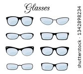 vector fashion glasses of set... | Shutterstock .eps vector #1342898234