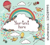 cute banner with hot air... | Shutterstock .eps vector #134289995