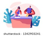 family kitchen cleaning time.... | Shutterstock .eps vector #1342903241