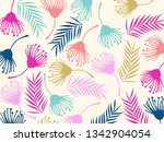 tropical jungle leaves and... | Shutterstock .eps vector #1342904054