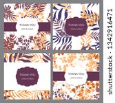 floral thank you cards set ... | Shutterstock .eps vector #1342916471