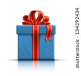 blue gift box with a red ribbon ... | Shutterstock .eps vector #134292434