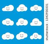 clouds smile set. vector... | Shutterstock .eps vector #1342930331