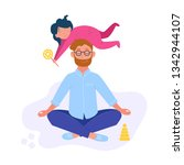 father is sitting in the lotus... | Shutterstock .eps vector #1342944107