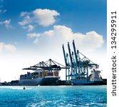 cargo sea port. sea cargo... | Shutterstock . vector #134295911
