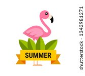 cartoon flamingo vector label | Shutterstock .eps vector #1342981271