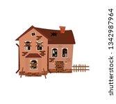 vector illustration of ruined ... | Shutterstock .eps vector #1342987964