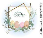 card happy easter holiday.... | Shutterstock .eps vector #1342993901
