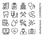 medical healthcare icon set | Shutterstock .eps vector #1343008274