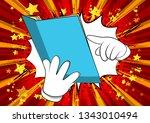 vector cartoon hand holding and ... | Shutterstock .eps vector #1343010494