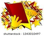 vector cartoon hand holding and ... | Shutterstock .eps vector #1343010497