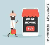 mobile online shopping.young... | Shutterstock .eps vector #1343020241