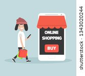 mobile online shopping.young... | Shutterstock .eps vector #1343020244