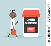 mobile online shopping.young... | Shutterstock .eps vector #1343020247