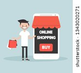 mobile online shopping.young... | Shutterstock .eps vector #1343020271