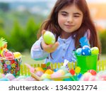 cute little girl playing with...   Shutterstock . vector #1343021774
