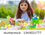 portrait of a cute little girl...   Shutterstock . vector #1343021777