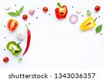 various fresh vegetables and... | Shutterstock . vector #1343036357