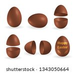 set of realistic chocolate eggs ... | Shutterstock .eps vector #1343050664