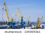 port cranes in the industrial... | Shutterstock . vector #134305361