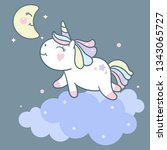 cute unicorn vector on cloud... | Shutterstock .eps vector #1343065727