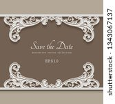 vintage frame with lace border... | Shutterstock .eps vector #1343067137