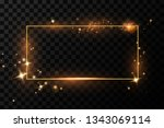 golden frame with lights... | Shutterstock .eps vector #1343069114